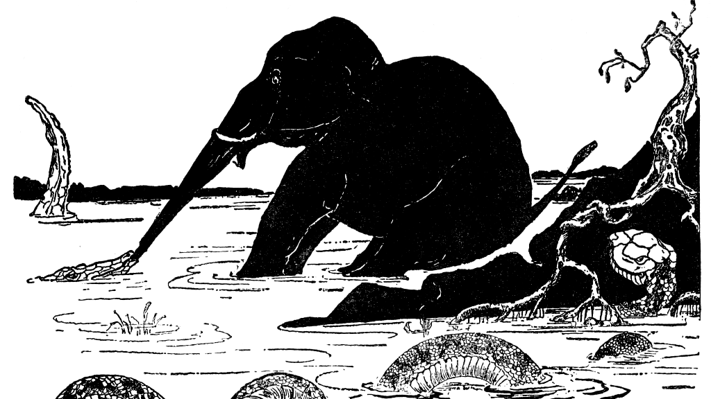 an etching of an elephant in a river